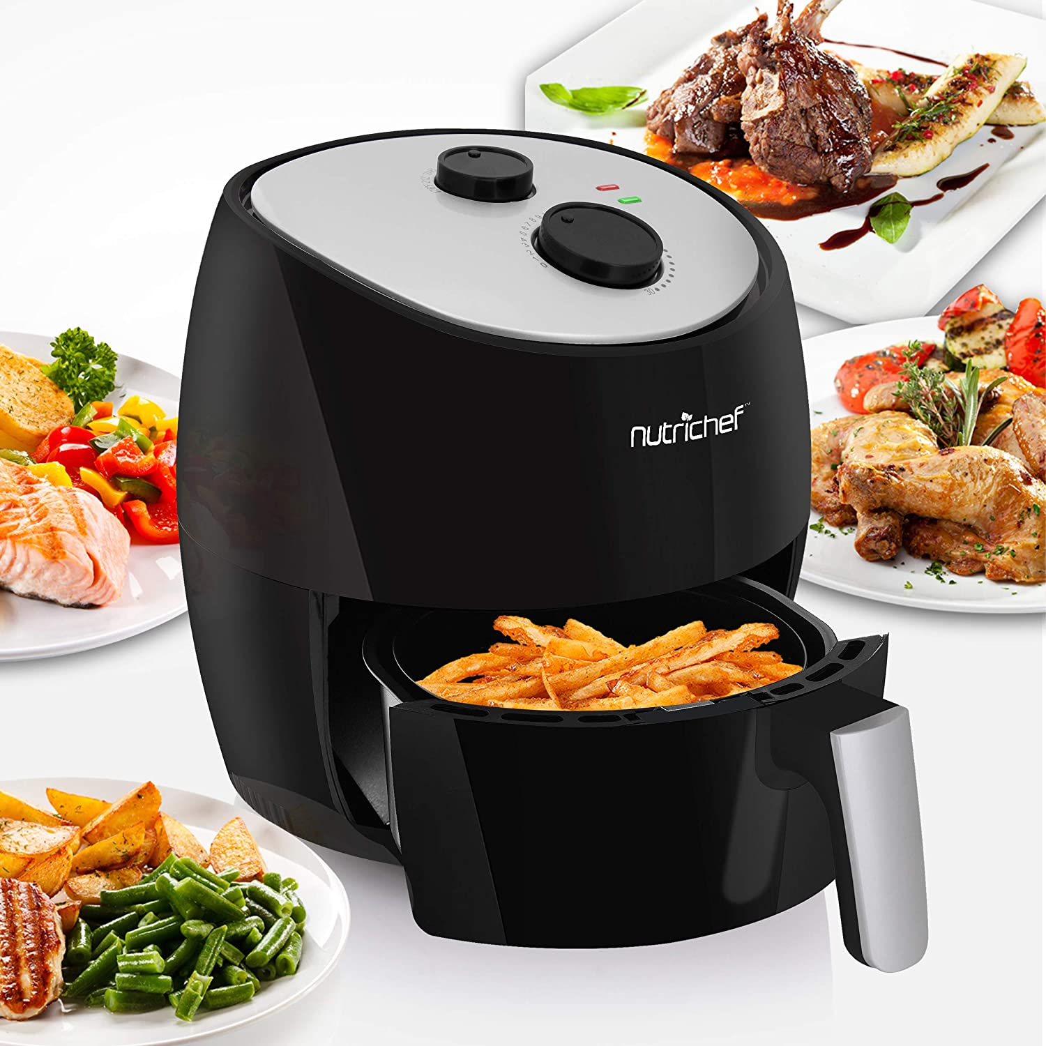 Electric Air Fryer Multi Cooker - 1300 Watt High Power Oilless Kitchen Hot Air Frying Oven Toaster Convection Cooker- 3L NonStick Teflon Basket - NutriChef PKAIRFR22