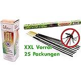 25 Packungen Citronella Anti Mücken Räucherstäbchen, Brenndauer ca. 150h (gesamt). XXL Vorrat als Alternative zur Citronella Kerze oder Teelichter für draußen / im Garten