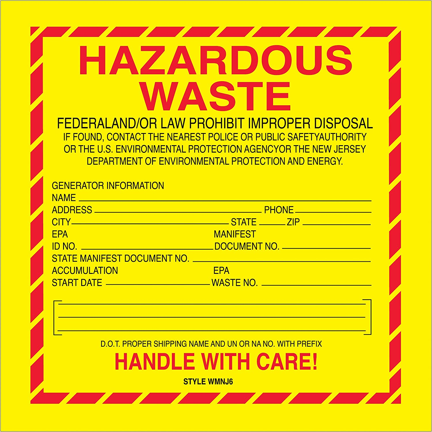 New Jersey 6 x 6 500//Roll Poly Bag Guy Tape Logic Labels,Hazardous Waste Red//Yellow//Black