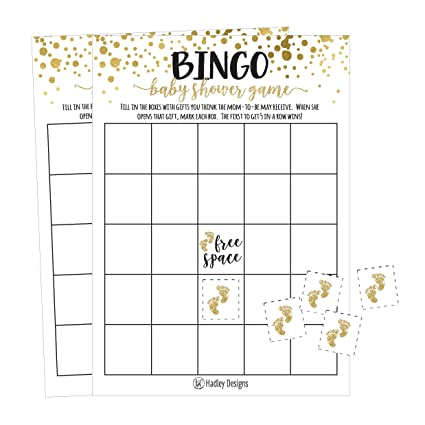 Amazon Com 25 Gold Bingo Game Cards For Baby Shower Bulk Blank