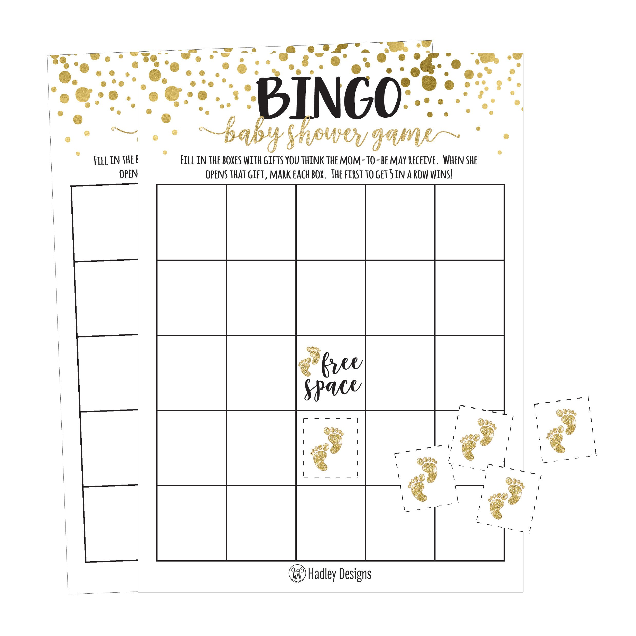 25 Gold Bingo Game Cards For Baby Shower, Bulk Blank Bingo Squares, PLUS 25 Pack of Baby Feet Game Chips, Funny Baby Party Ideas and Supplies For Girl or Boy, Cute Paper Pattern For Kids and Children by Hadley Designs