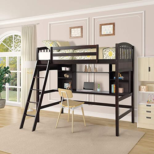 Loft Bed with Desk, Twin Size Wood loft Space Saving bunk for Kids and Teenagers Espresso