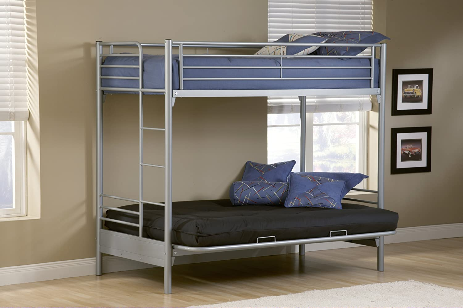 amazon    hillsdale universal youth twin over futon bunk bed in silver finish  kitchen  u0026 dining amazon    hillsdale universal youth twin over futon bunk bed in      rh   amazon