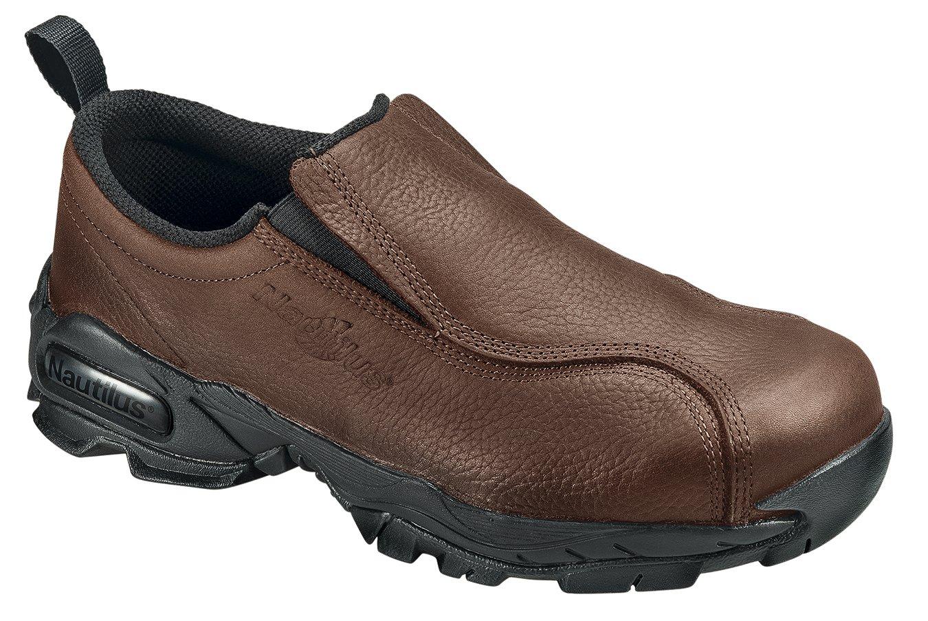 Nautilus Women's Water Resistant Slip On Oxfords,Brown,8 W