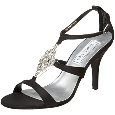 Touch Ups Women's Damaris Leather T-Strap Sandal,Black Satin,5.5 ...