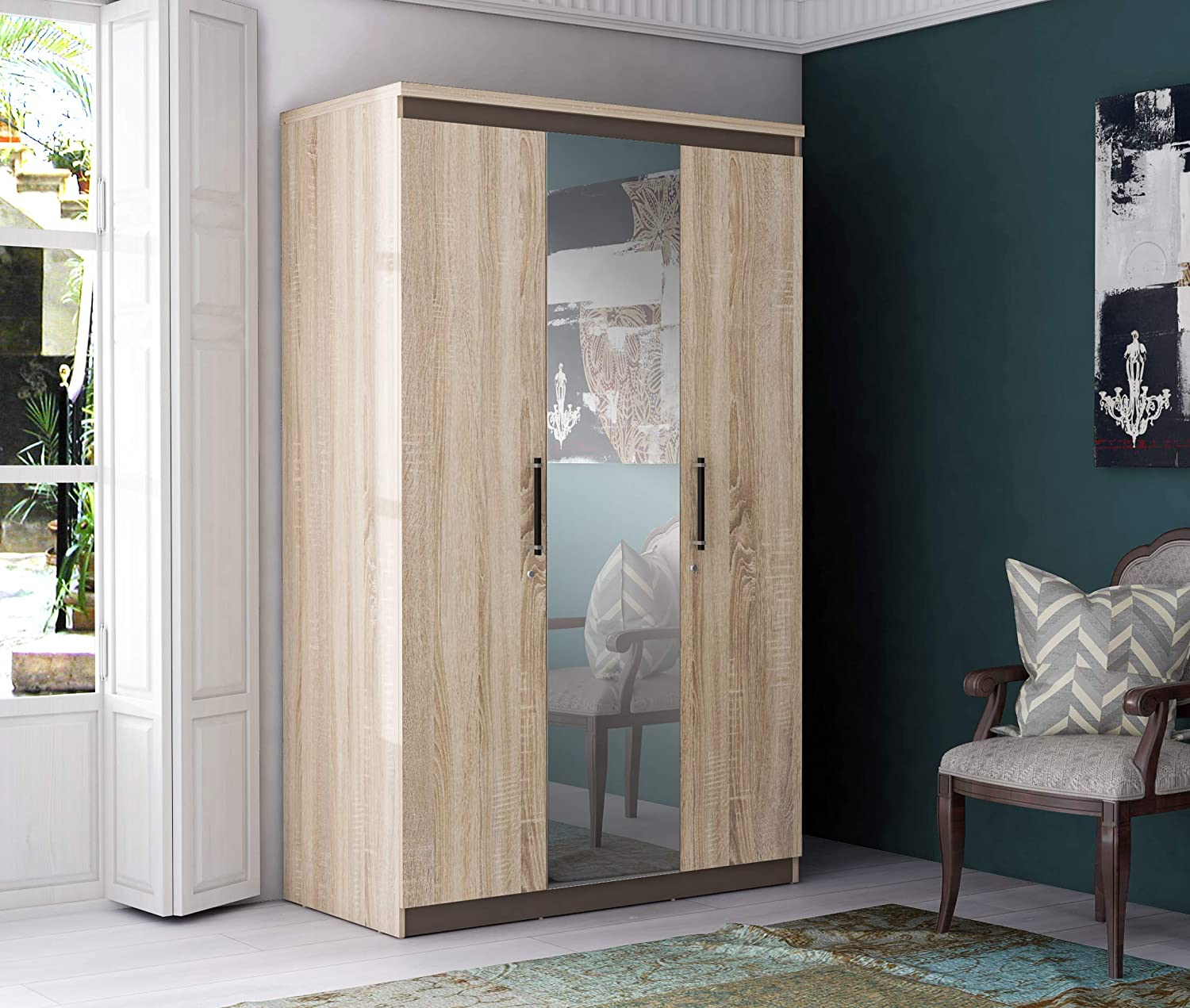 Zuari Flow 3 Door Wardrobe (Sonoma Oak)