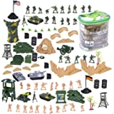 100 Piece Military Figures and Accessories - Toy Army Soldiers in 2 Colors, War Soldiers Playset with 2 Flags and Battlefield Accessories
