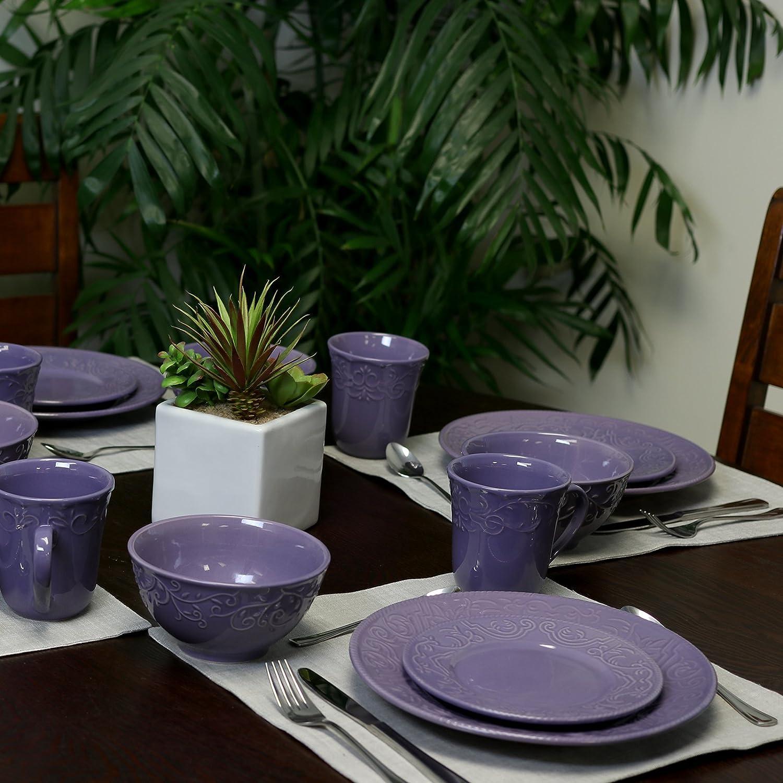 Elama Lilac Fields 16-Piece Dinnerware Set & ELAMA LILAC FIELDS 16-PIECE EMBOSSED STONEWARE DISH DINNERWARE SET ...