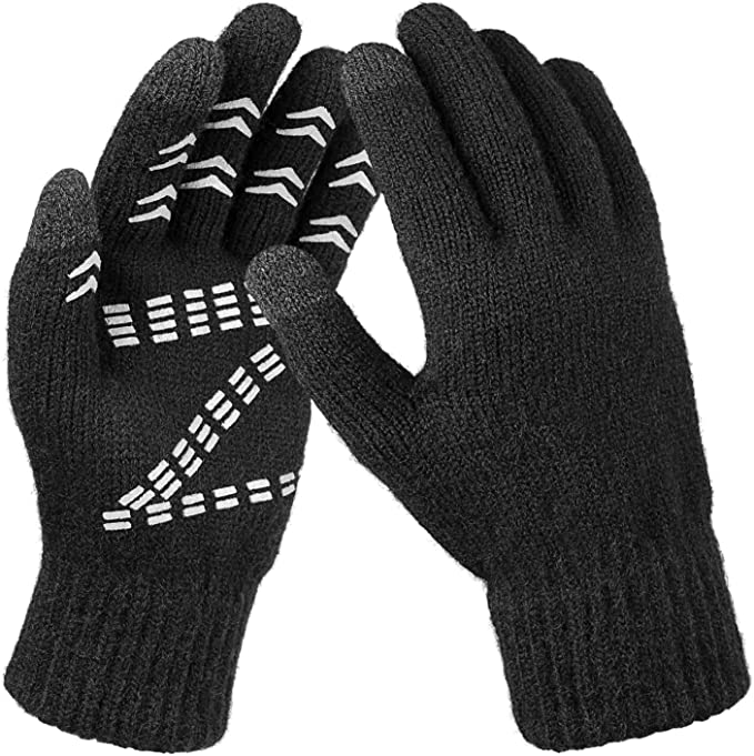 Winter Knit Gloves Touch Screen Glove Thermal Wool for Men and Women Black