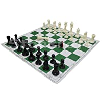 StonKraft 17'' x 17'' Tournament Chess Vinyl Foldable Chess Game with Solid Plastic Pieces (with Two Extra Queens…