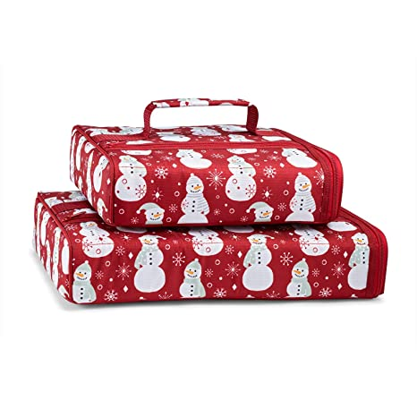 Festive, Holiday Casserole Carrier Set by Fit & Fresh, Set of Two Insulated  Carriers for 9