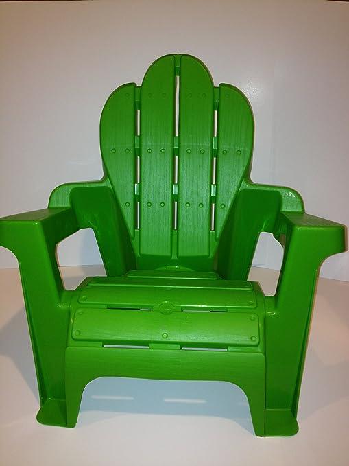 Ordinaire Kidu0027s Plastic Adirondack Chair, Green, Scallop Top, Light Weight