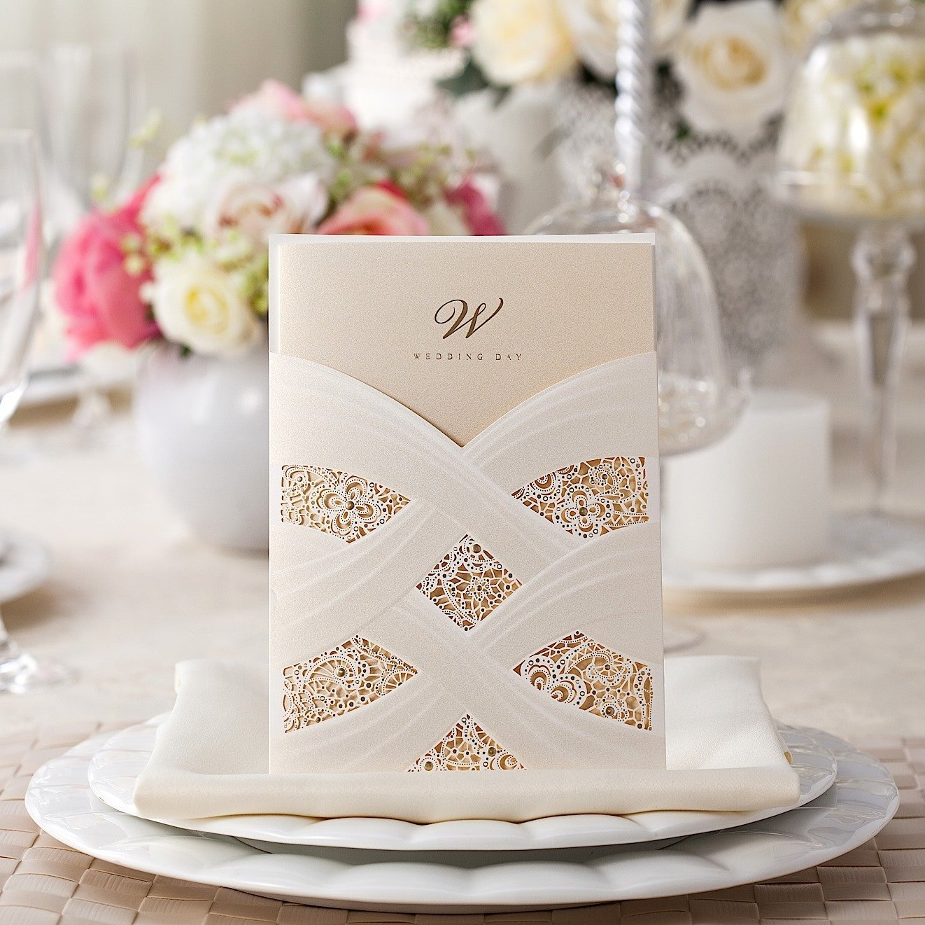 Wishmade 100X Laser Cut Lace Wedding Invitations Cards Kit With White Envelope and Seals CW060 by Wishmade