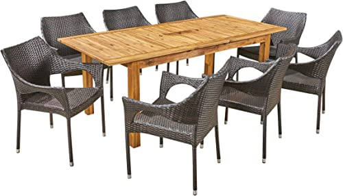Christopher Knight Home Kelly Outdoor 9 Piece Wood and Wicker Expandable Dining Set