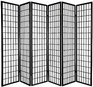Legacy Decor 6 Panel Room Screen Panel Divider Black Finish