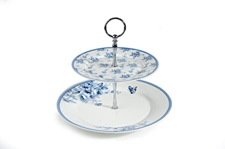 2 Tier Blue Rose Bone China Cake Stand with Chrome Stand  sc 1 st  Amazon UK & 2 Tier Blue Rose Bone China Cake Stand with Chrome Stand: Amazon ...