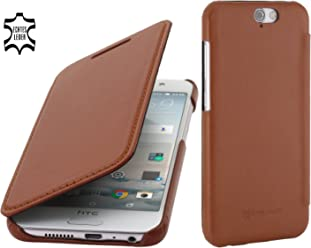 StilGut Book Type Case Senza Clip, Custodia a Libro in Vera Pelle per HTC One A9, Cognac