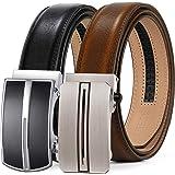 ITIEZY Leather Ratchet Dress Belt 2 Pack with Automatic Buckle Adjustable Click Sliding Belt for Men, Trim to Fit