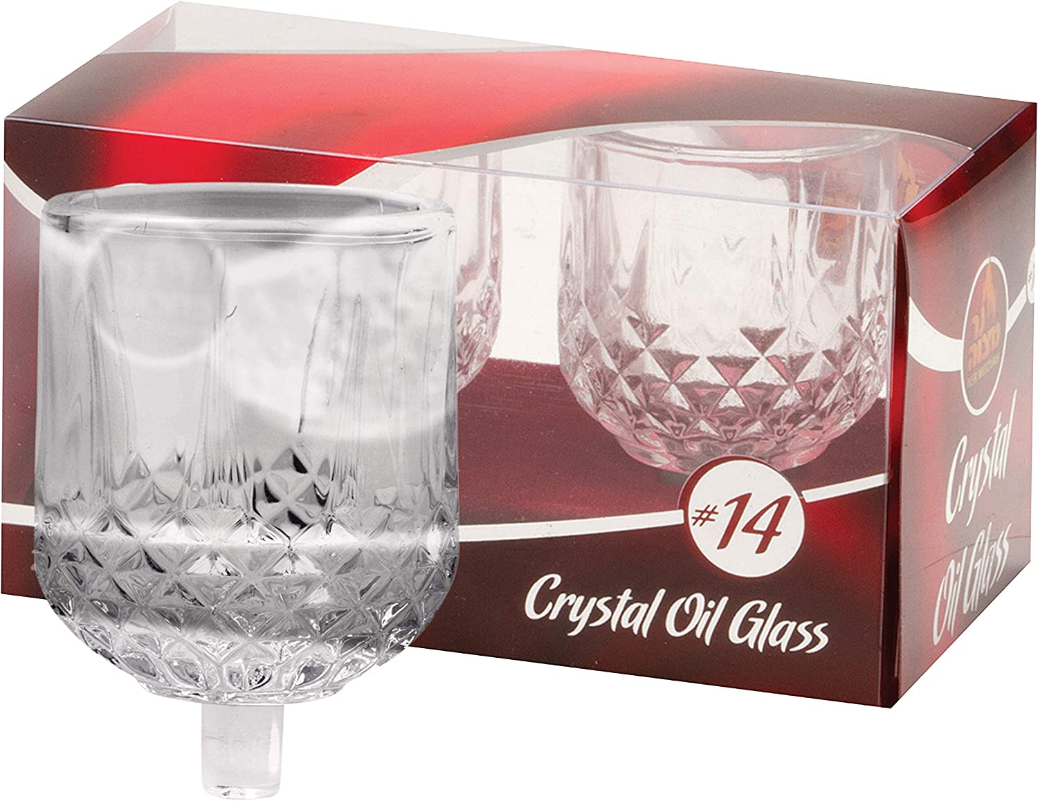 Ner Mitzvah Shabbos Candle Glass Oil Cups – Crystal Looking Elegant Holders for Oil for Shabbat and Hanukkah – 2 Pack -Durable Quality, Long-Lasting