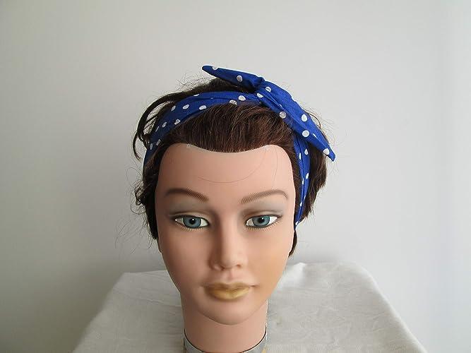 Bandeau vintage rigide /à nouer bleu turquoise /à pois blancs