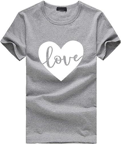 Camisetas de Mujer Camisa Manga Corta T-shirtsO-Cuello con Estampado Corazon Gráficos Love Simple Camisola Oficina Falda Abrigo Primavera Verano Marlene1988: Amazon.es: Ropa y accesorios