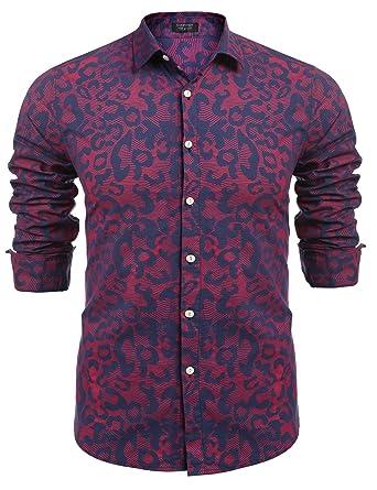 4a5cf74f5593 COOFANDY Men's Fashion Print Casual Long Sleeve Button Down Shirt (S, XXX)  Blue