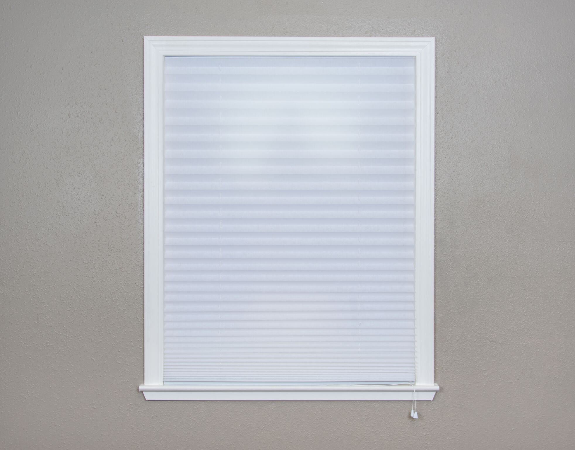 Original Corded Lift Light Filtering Pleated Fabric Shade White, 36''x 72''