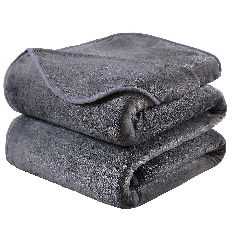HOZY Soft Blanket King Size Fleece Warm Fuzzy Throw Blankets for The Bed Sofa Lightweight 350GSM Dark Grey 90'' 108''
