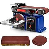 WORKPRO Belt Disc Sander, 4 in. x 36 in. Belt & 6 in. Disc Sander with 6pcs Sandpapers, Cast Iron Base for Sanding Woodworkin