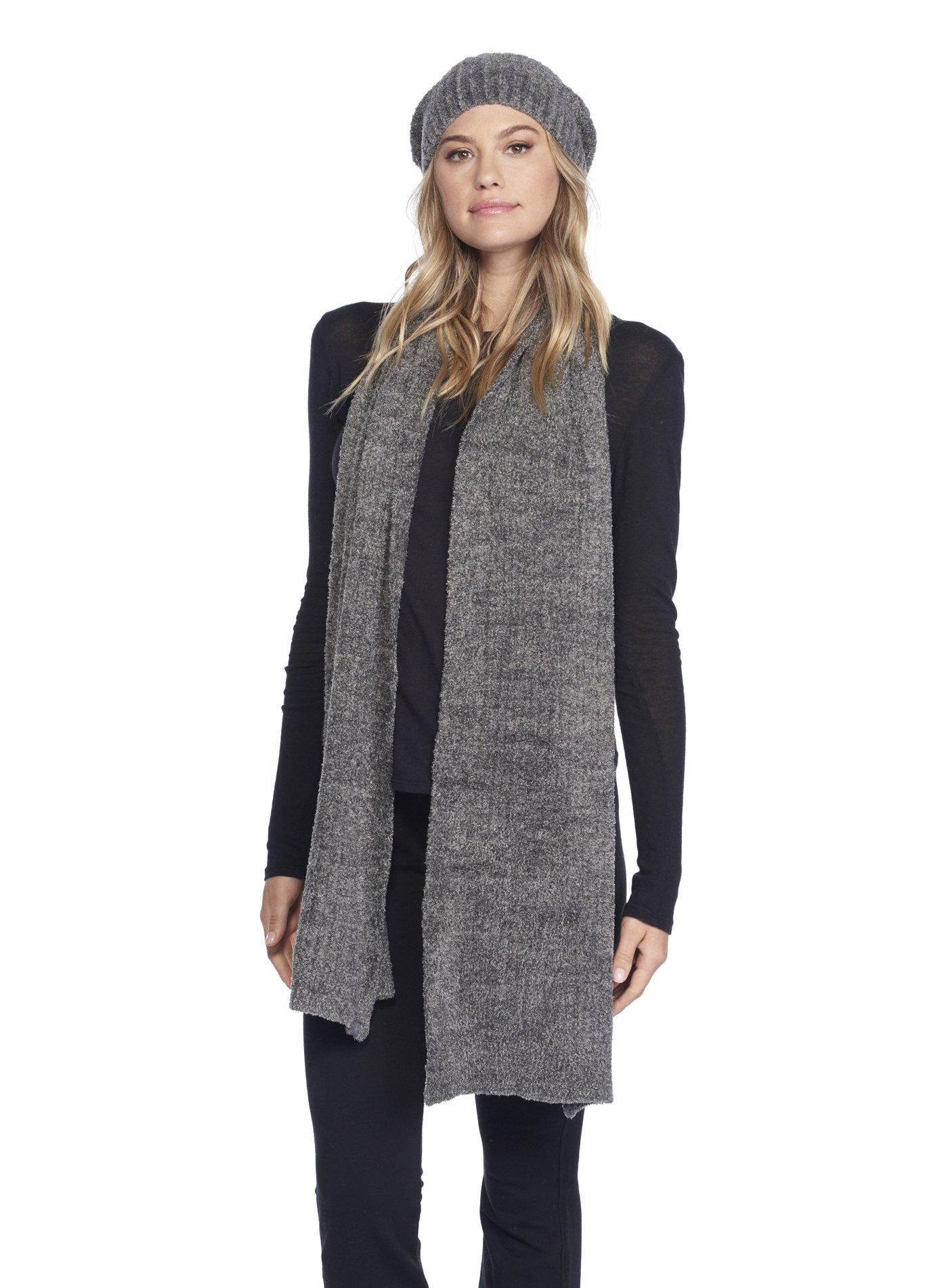Barefoot Dreams CozyChic Lite Heathered Ribbed Scarf Loden/Carbon