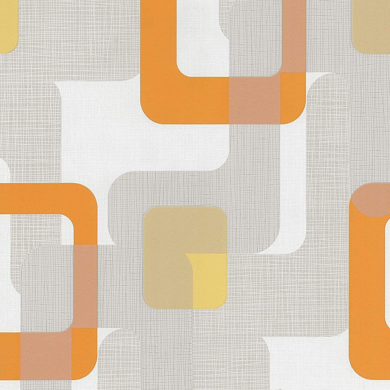 Novara Orange Grey White Retro Paste the Wall Textured Washable ...