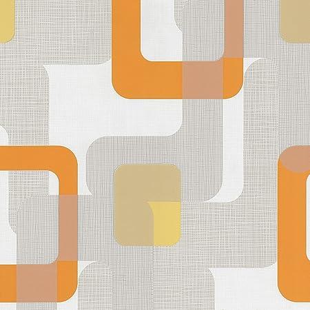 Novara Orange Grey White Retro Paste The Wall Textured Washable Wallpaper 13460 50