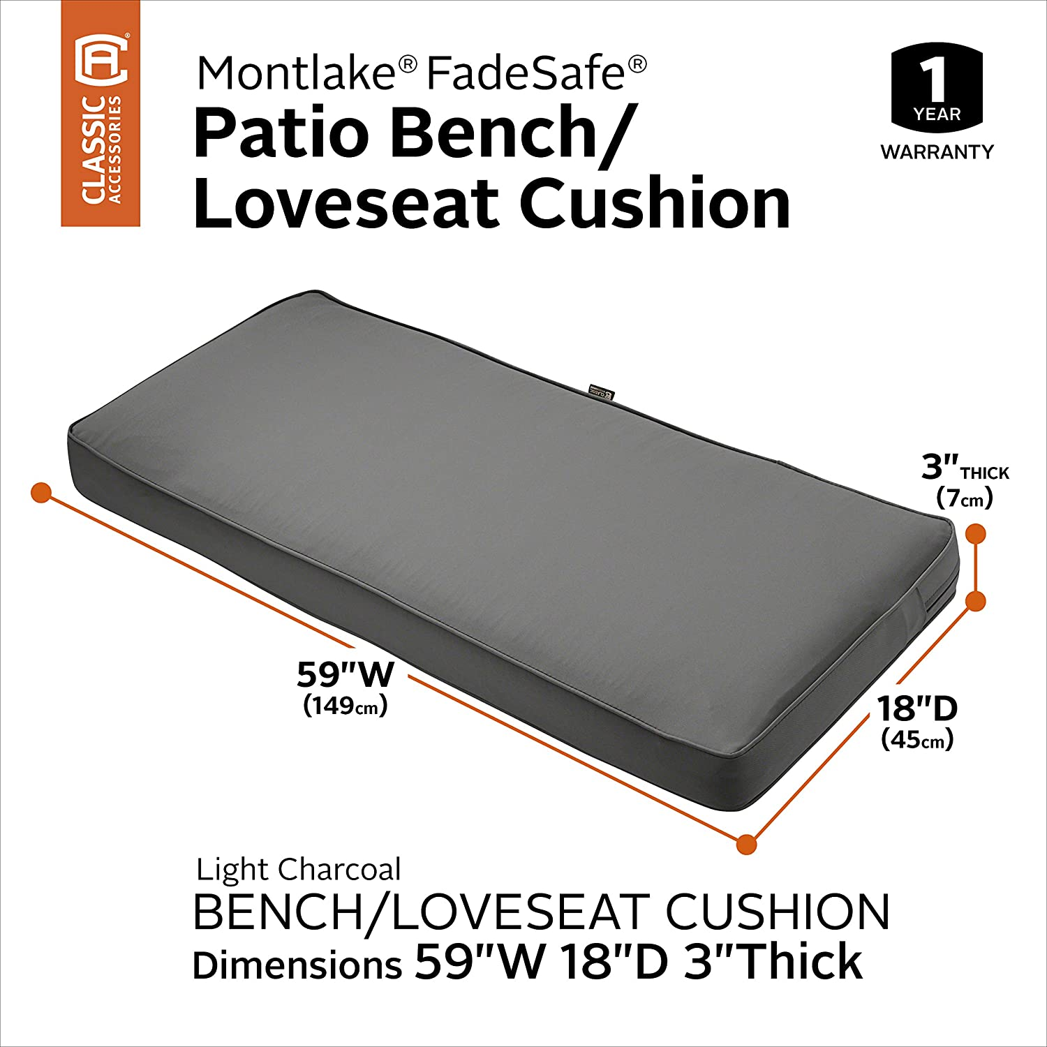 Classic Accessories Montlake Patio FadeSafe Bench Cushion Charcoal, 59 Wx18 Dx3 T