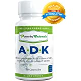 Vitamin ADK ~ High Potency [ Vitamin A 5000 iu | D3 5000 iu| K2 (as MK-7) 500mcg ] Supplement For Bone Strength and Heart Health, Dr. Formulated, NON GMO,NO SOY -60 Veg-Caps PowerbyNaturals (1 Bottle)