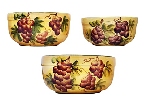 3 Tuscany Grape Serving Bowls Set Fruit Mixing  sc 1 st  Amazon.com & Amazon.com: 3 Tuscany Grape Serving Bowls Set Fruit Mixing: Tuscan ...