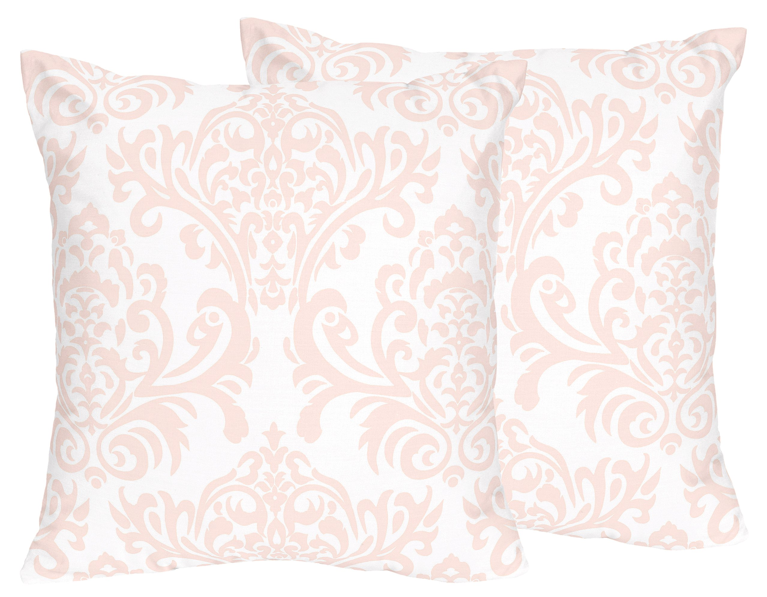 Sweet JoJo Designs 2-Piece Blush Pink and White Damask Girls Decorative Accent Throw Pillow for Amelia Bedding Collection
