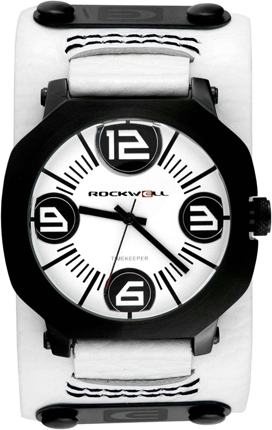 Rockwell Men's AS104 Assassin Black-Plated Stainless Steel Case and White Leather Band Watch