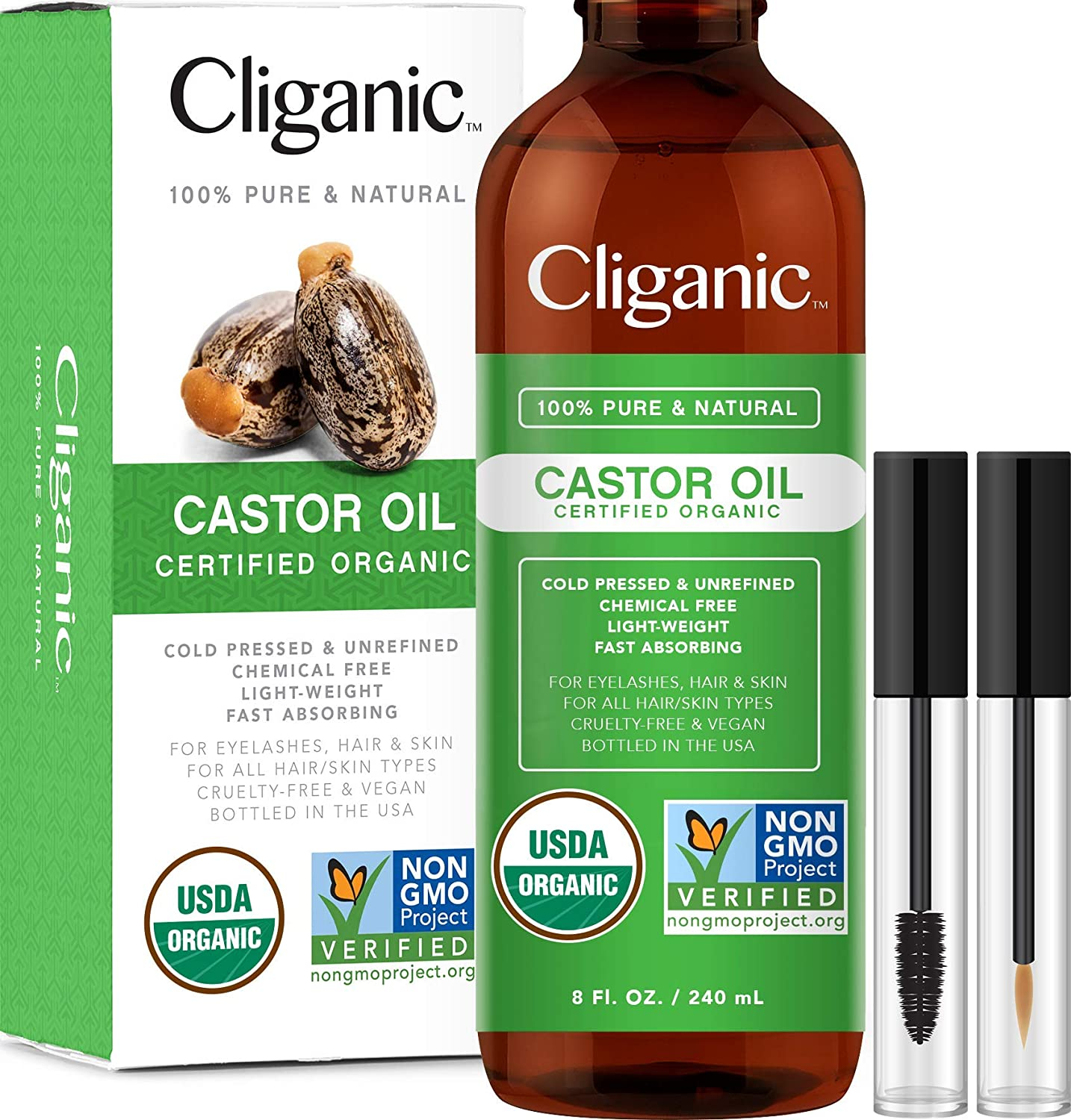Cliganic USDA Organic Castor Oil, 100% Pure with Eyelash Kit (8oz) | For Eyelashes, Eyebrows, Hair & Skin | Natural Cold Pressed Unrefined Hexane-Free | DIY Carrier Oil | Cliganic 90 Days Warranty