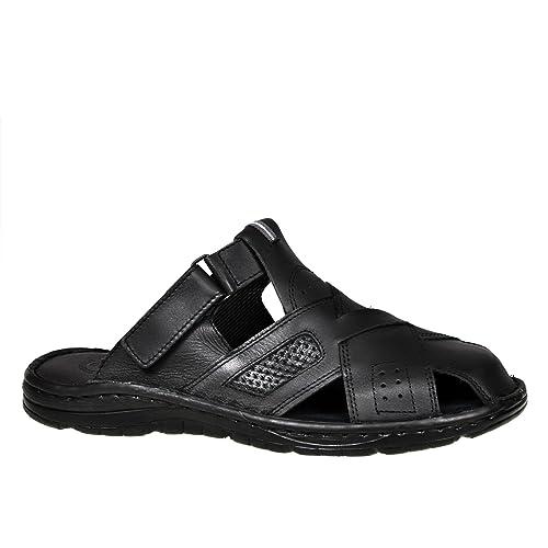712808bc34b9 Lukpol Genuine Buffalo Leather Mens Sandals Shoes Comfy Orthopedic Footwear  Model-868 Black