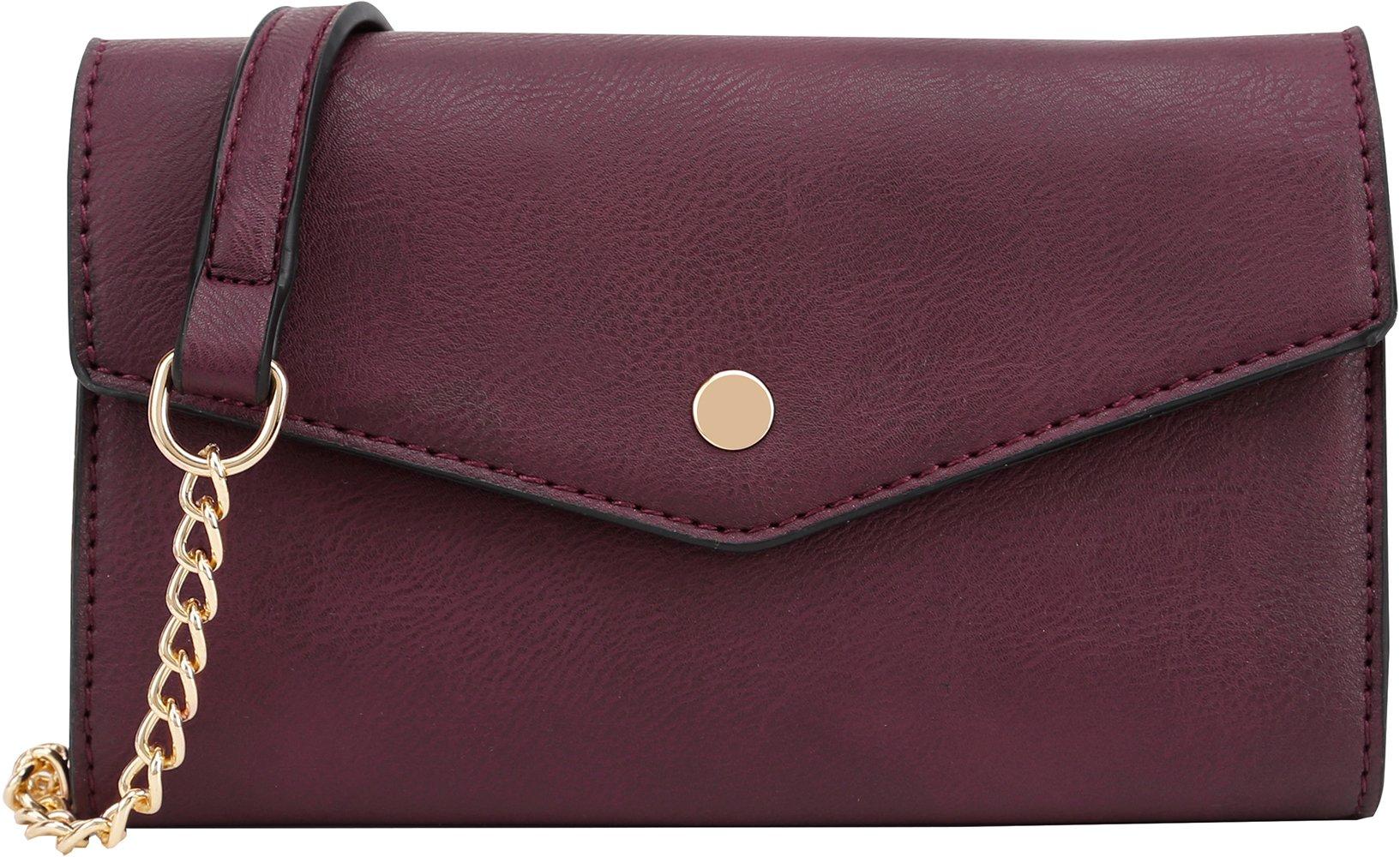DELUXITY Women's Envelope Clutch Crossbody Wallet (Wine)