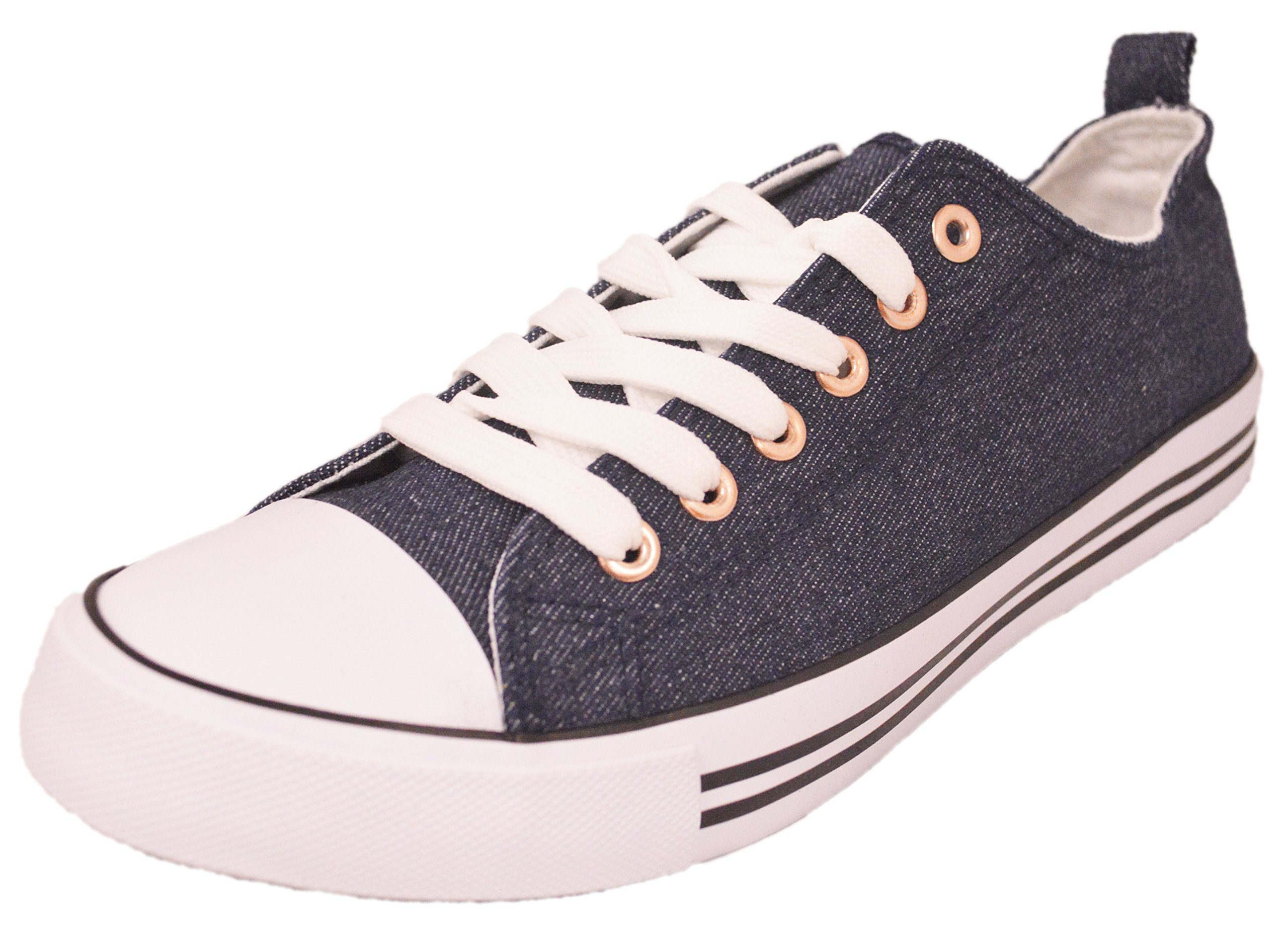 Shop Pretty Girl Women's Casual Canvas Shoes Solid Colors Low Top Lace up Flat Fashion Sneakers Version 2 Denim with Rose 10