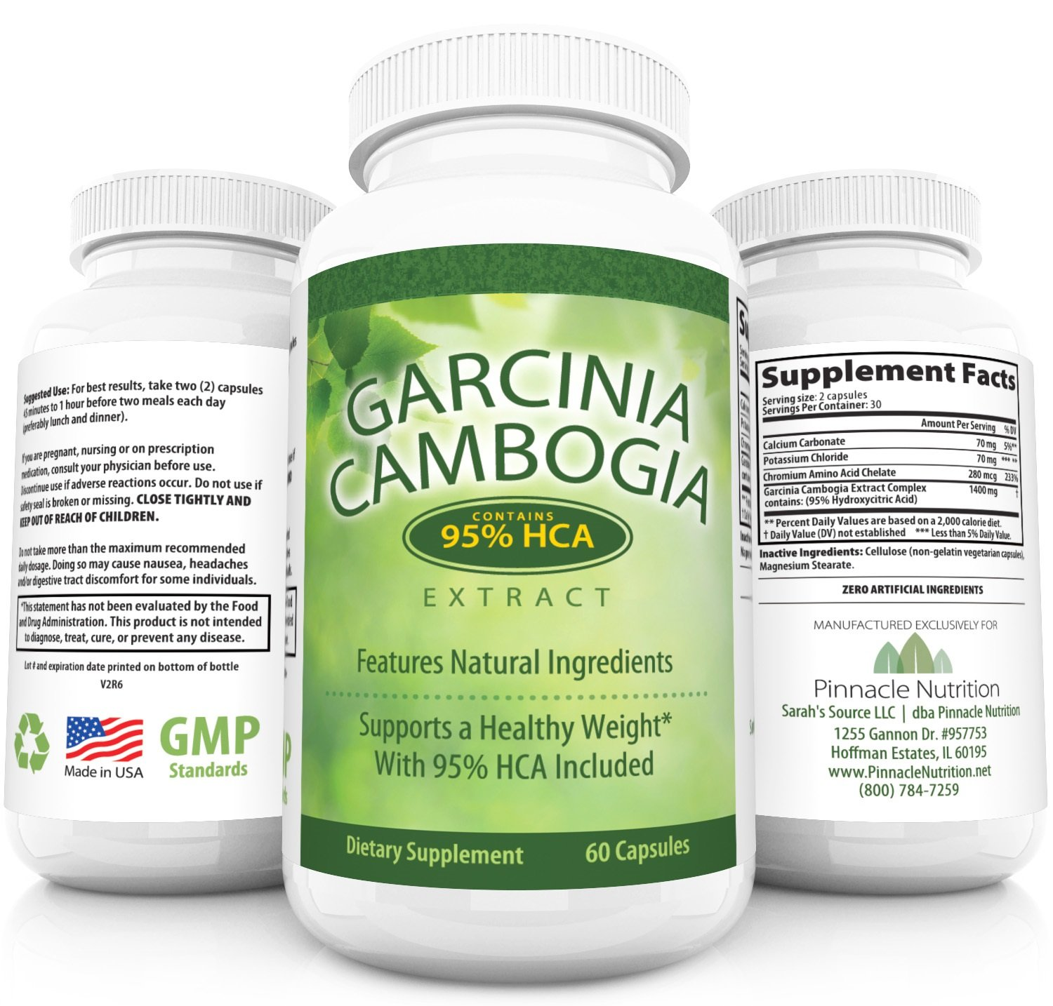 Pinnacle Nutrition 95% HCA Garcinia Cambogia Pure Extract with Potassium Weight Loss Aid - 60 Capsules