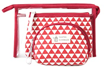 886758bfb7e2 Amazon.com   Zhoma 3 Piece Cosmetic Bag Set - Makeup Bags And Travel Case -  Red   Beauty