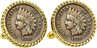 product image for Civil War Indian Head Penny Rope Bezel Coin Cuff Links | United States Coins | Men's Cufflinks | Over 100 Years Old