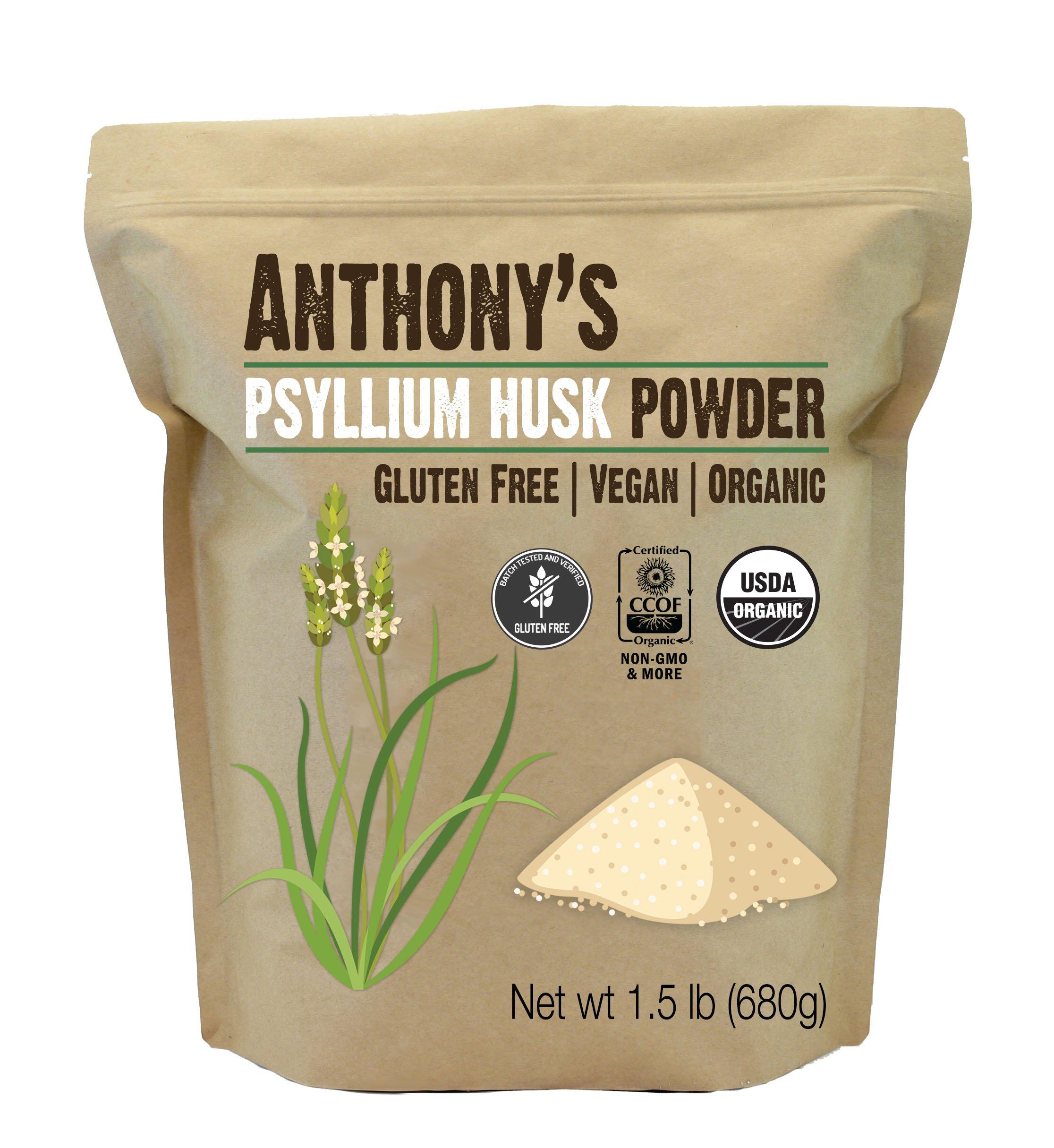 Anthony's Organic Psyllium Husk (1.5lb), Gluten Free, Non-GMO, (24 oz)