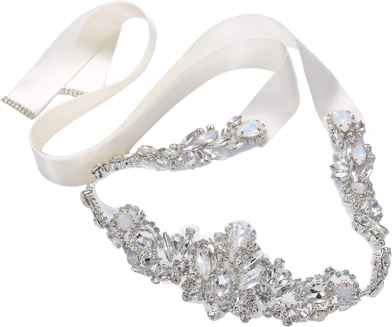 "20 1//2/"" Wedding Dress Sash Belt SILVER CLEAR CRYSTAL Wedding Sash Belt"
