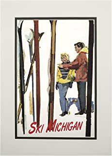 product image for Ski Michigan - Couple by Skis in the Snow (11x14 Double-Matted Art Print, Wall Decor Ready to Frame)