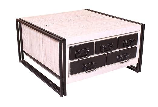 Mesa de baúl Color Blanco con antikschwarz de Madera 5 cajones 1 ...