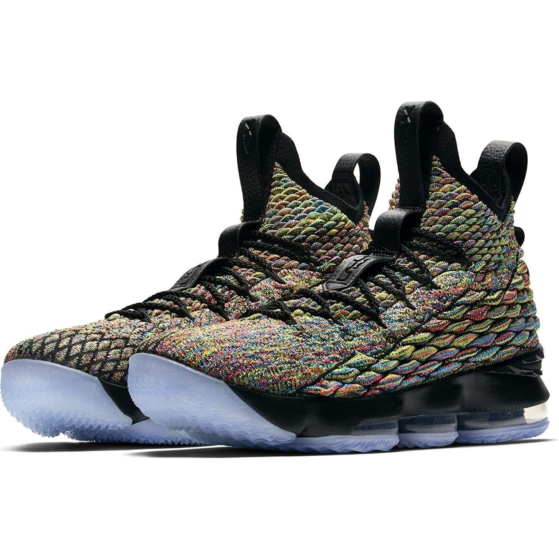 e2fb46af2df18 Nike Mens Lebron 15 Basketball Shoes (8.5, Black/Multi Color)
