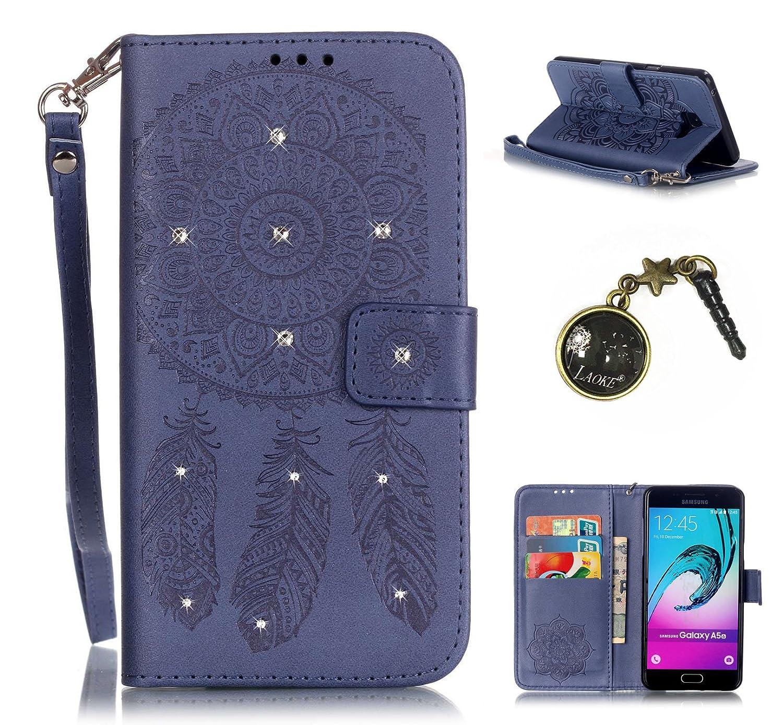 PU Cuir Coque Strass Case Etui Coque étui de portefeuille protection Coque Case Cas Cuir Swag Pour Samsung Galaxy A5 (2016) A510F A5100+Bouchons de poussière (5JA) Laoke